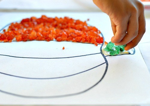 fall fine motor craft with pumpkins