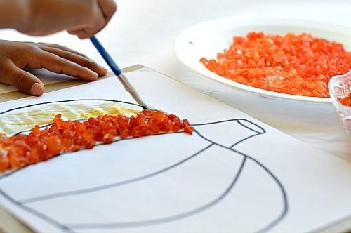 glue pumpkin craft for kids