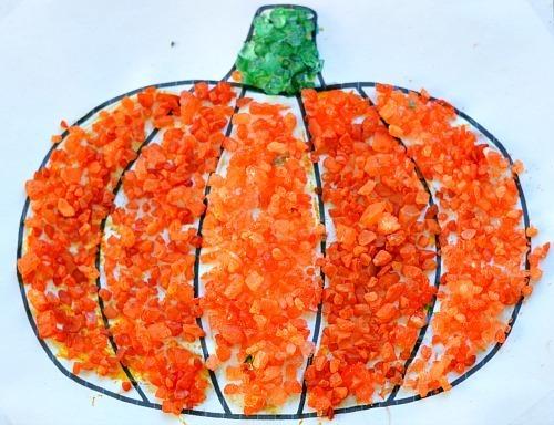 textured pumpkin fall craft for kids