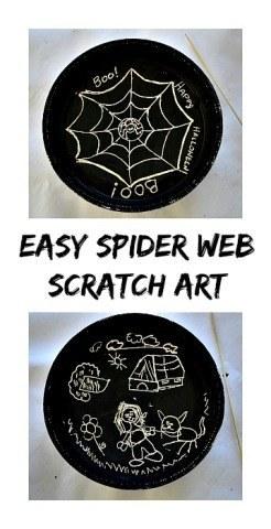 Super easy spider web art using the scratch technique