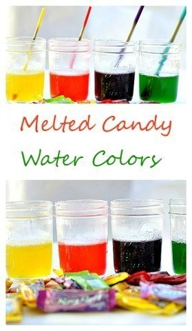 Yummy smelling homemade liquid watercolors with JUST melted candy_ Easy recipe included