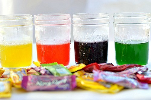 homemade liquid watercolors made with candy