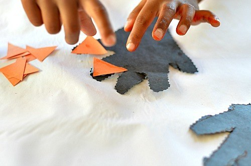 sticking the nails on halloween crafts