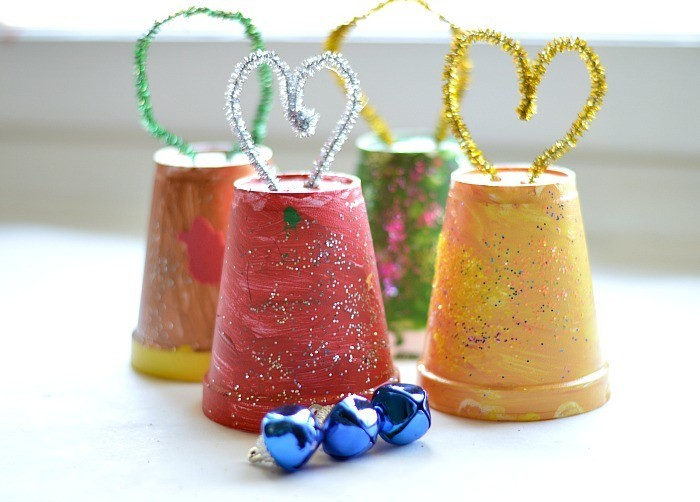 Christmas Crafts For Kids making Jingle Cups Ornaments using cups and bellsjpg