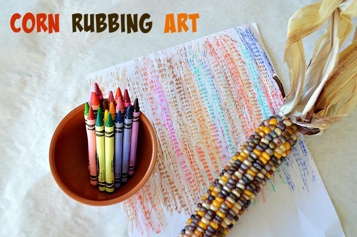 corn rubbing- thanksgiving activities for kids