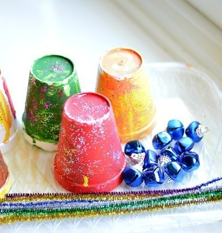 materials for Christmas craft jingle cups