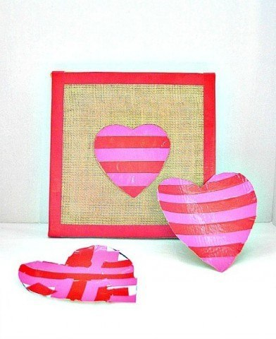 heart canvas art for valentines day