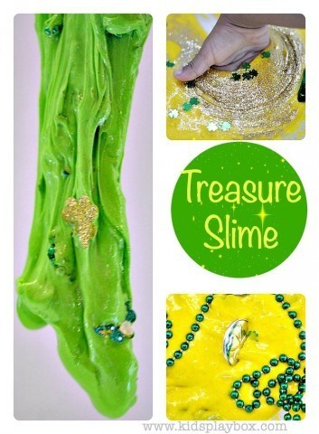 Cool Slime Recipe| Fun sensory activity| Shamrock Sparkles and Yellow Sparkles treasure slime for St Patricks Day from Kids Play Box