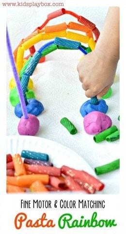 Fine Motor Activity with rainbow pasta and playdough