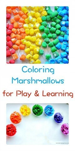 Make rainbow marshmallows for play and learning from Kids Play box