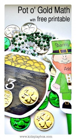 Math Activities for kids | St.Patrick's day themed counting addition|subraction|free printable included from Kids Play Box
