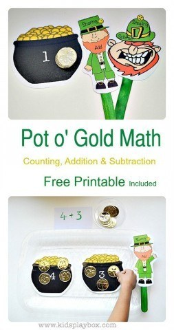 Math activities for kids using gold coins| St Patrick's day themed math|free printable|kids play box