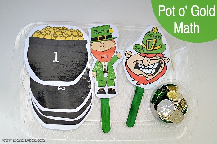 Pot o Gold Math with free printable  Fun Math Games for kids   Kids Play Box
