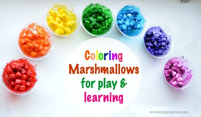 Coloring marshmallows for play and learning