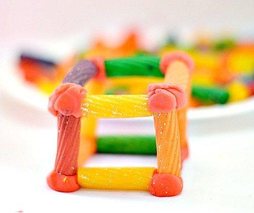 colorful pasta building