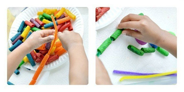 fine motor rainbow pasta play