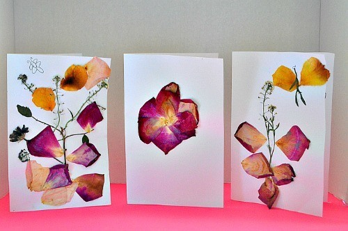 finished flower pressing cards for valentines