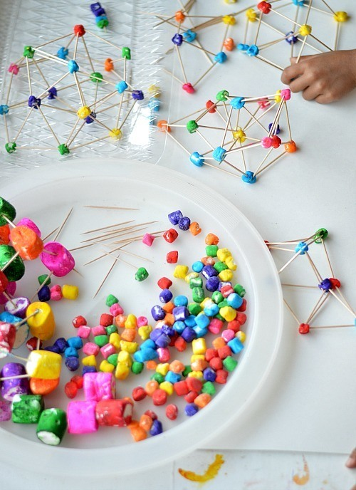 graphic about Building With Toothpicks and Marshmallows Printable titled Rainbow Marshmallow and Toothpick Constructions - The