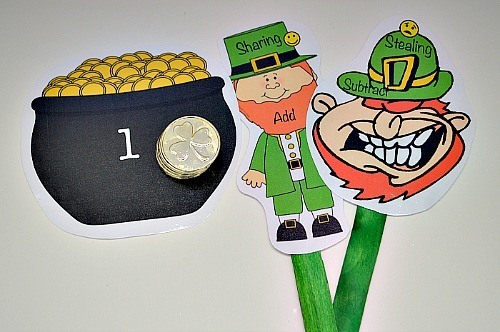 math games for kids using coins for st patrick's day