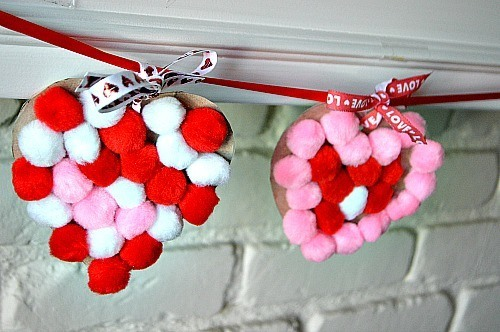pom pom heart garlands