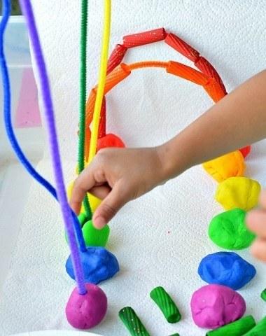 rainbow pipe cleaner playdough
