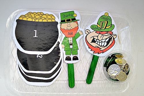 st patricks day math set up with free printable