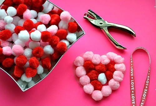 valentine craft for kids with sticky pom poms