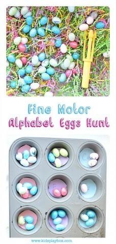 Fine motor alphabet egg hunting for Easter