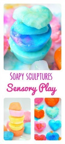Frozen soap sculptures and sensory play