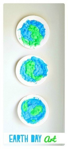 Make a simple wall art with puffy paint for Earth Day  Earth Day Crafts for kids|Kids Play Box