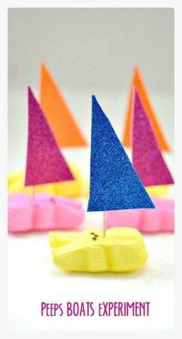 Peeps Boats Science Experiment  along with questions to ask to extend playful learning from Kids Play Box