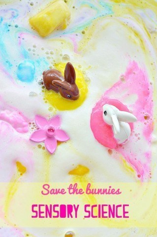 Sensory Science Experiment with a Easter theme| Use soap and baking soda for a fun play time