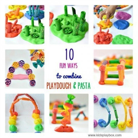 Toddler and preschooler activity with playdough and pasta