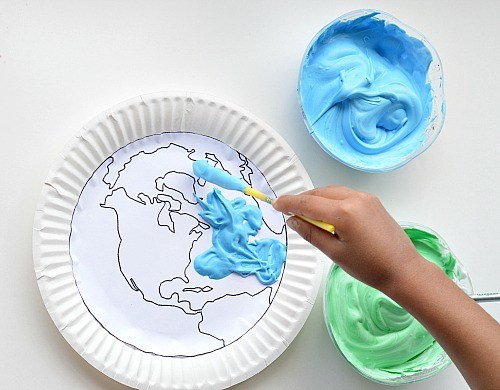 creating earth with shaving cream