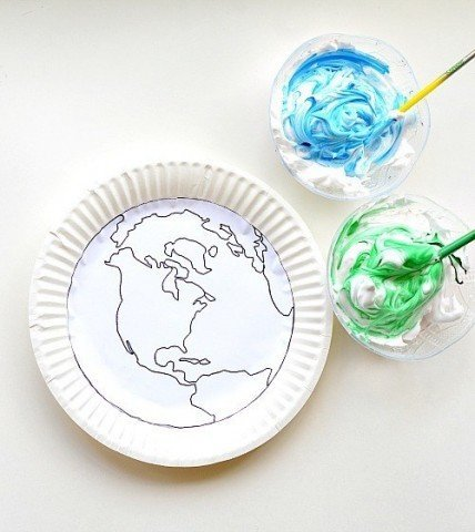earth day craft with shave cream