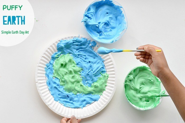 earth day crafts and art for kids with puffy paint