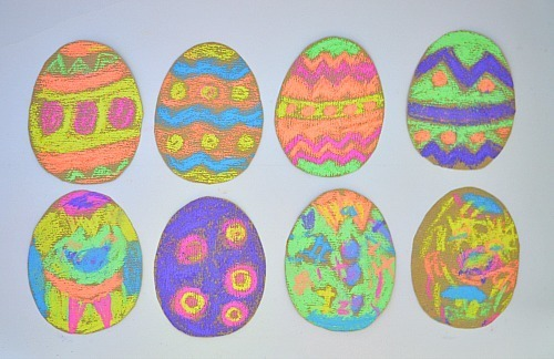 easter art with eggs and chalk