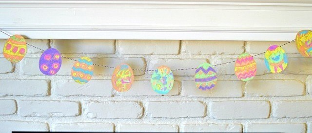 easter craft bunting with chalk and sandpaper
