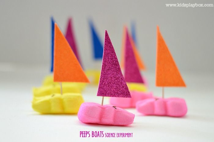 hands on science for kids with peeps boats experiment