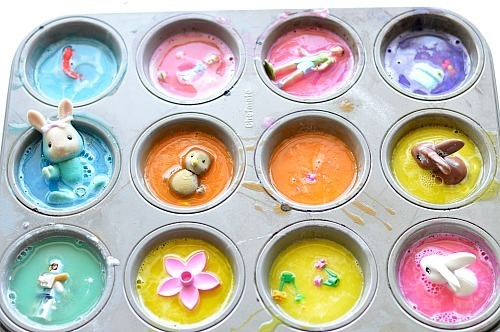 making the soapy cakes for easter activity