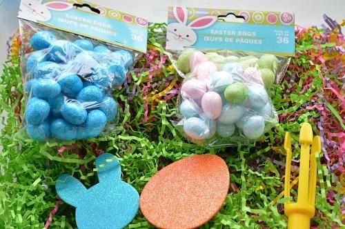 materials for easter egg hunt in a bin