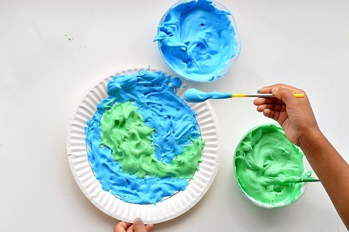 Earth Day Art with puffy paint Earth | Fun Littles