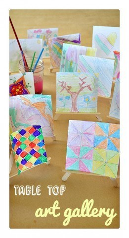 Create an art gallery on your kitchen table with mini easels