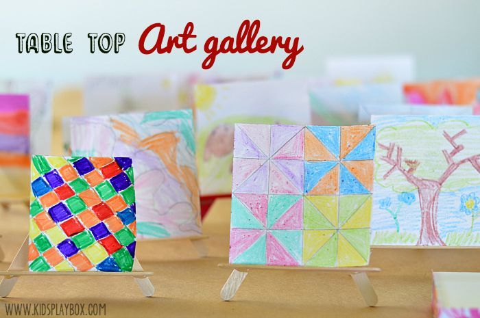 v=table top art gallery with DIY mini easels