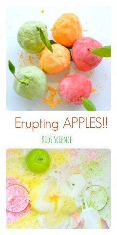 Erupting apples kids science experiment