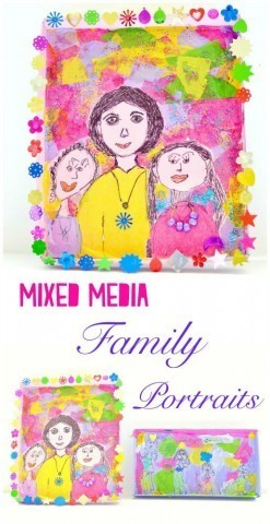 Mixed Media Family Portraits using shoebox lids