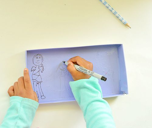art activities for kids with shoe box lids