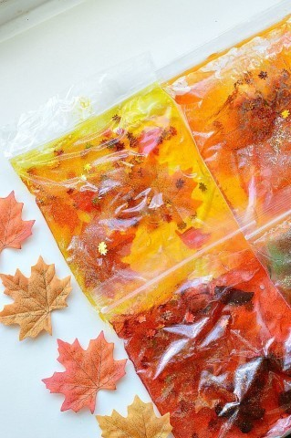 sensory activities for fall with squishy bags