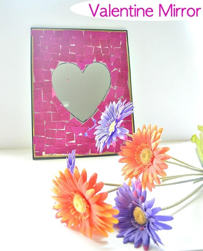 Valentine day craft with dollar store mirror