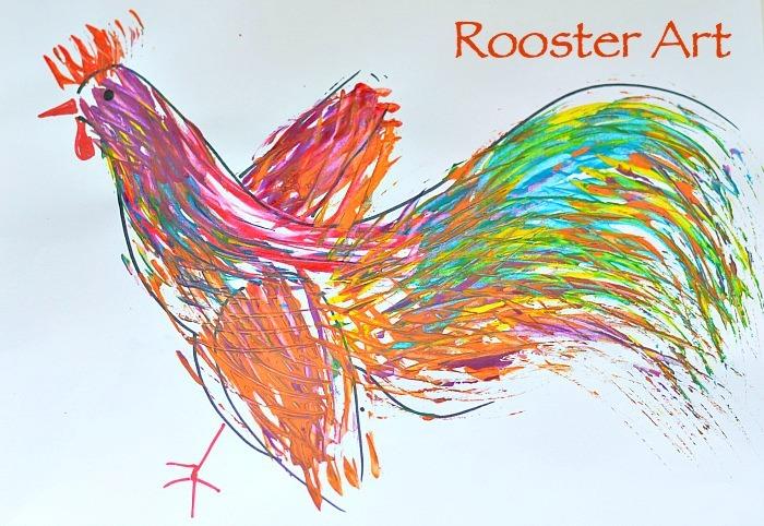 Art Activities for Kids : Rooster Art